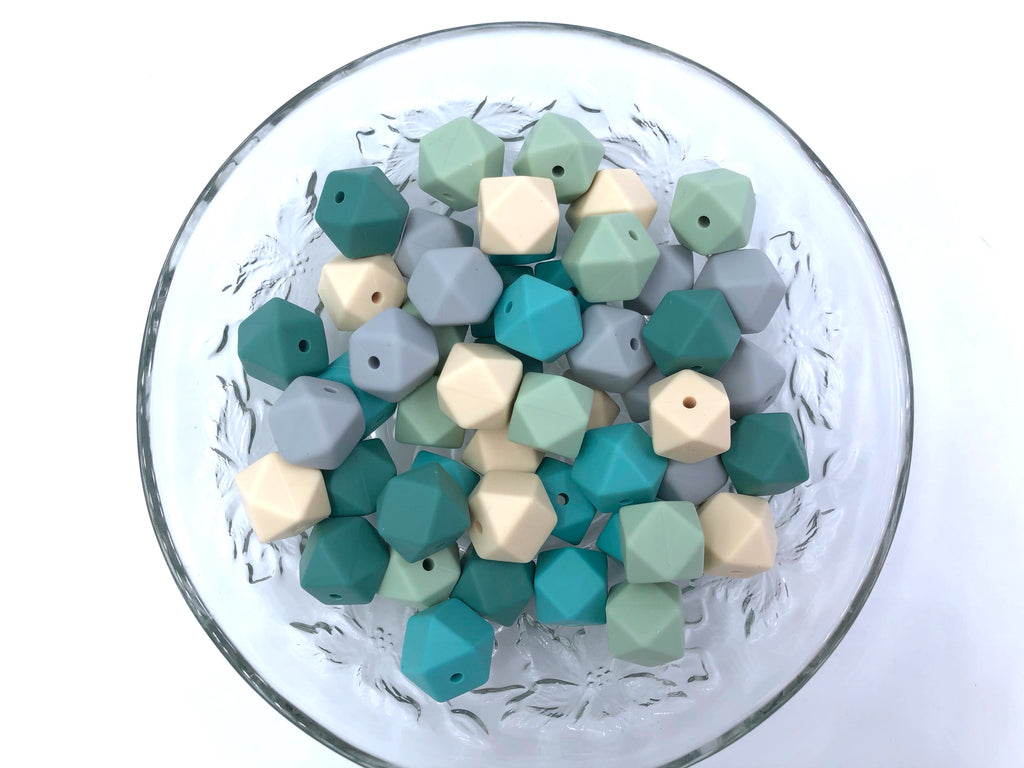 Beige, Smokey Mint, Pine, Sea Foam & Light Gray Mix, 50 or 100 BULK Hexagon Silicone Beads