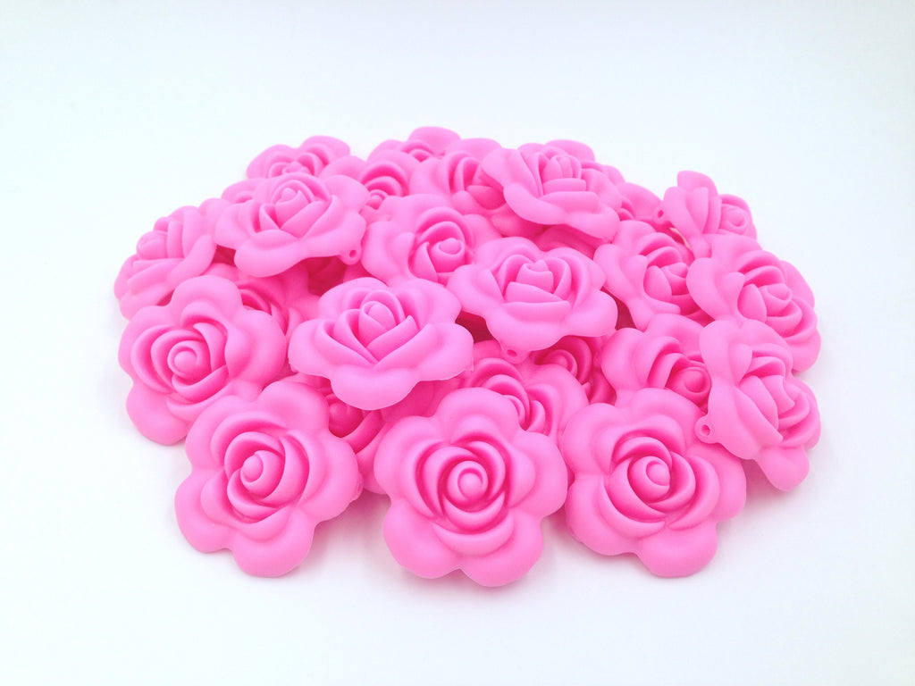 40mm Pink Silicone Flower Bead