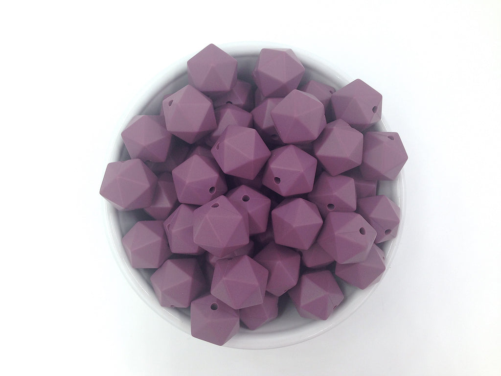 14mm Light Plum Mini Icosahedron Silicone Beads