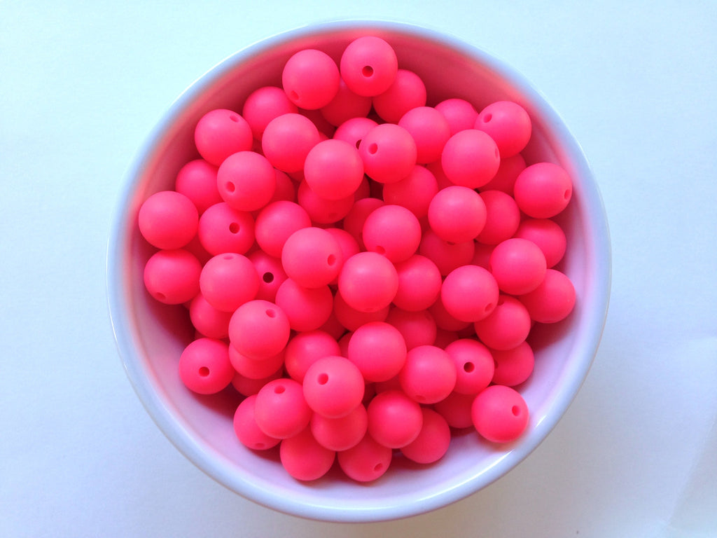 12mm Shocking Pink Silicone Beads