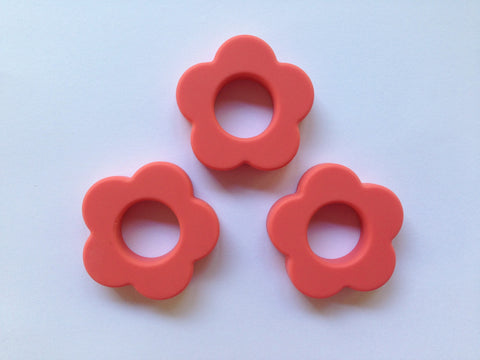 Coral Silicone Flower Pendant