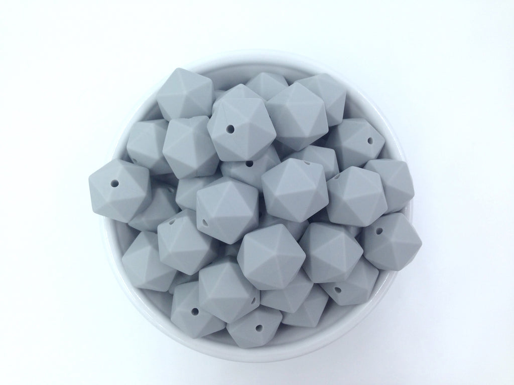 17mm Light Gray ICOSAHEDRON Silicone Beads