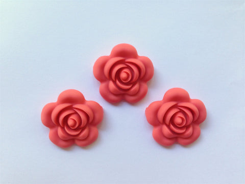 40mm Coral Silicone Flower Bead
