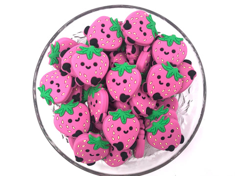New! Pink Strawberry Silicone Beads