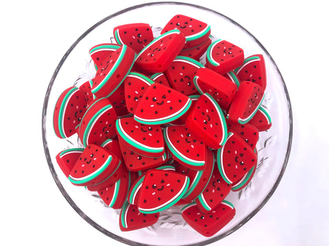New! Red Watermelon Slice Silicone Beads