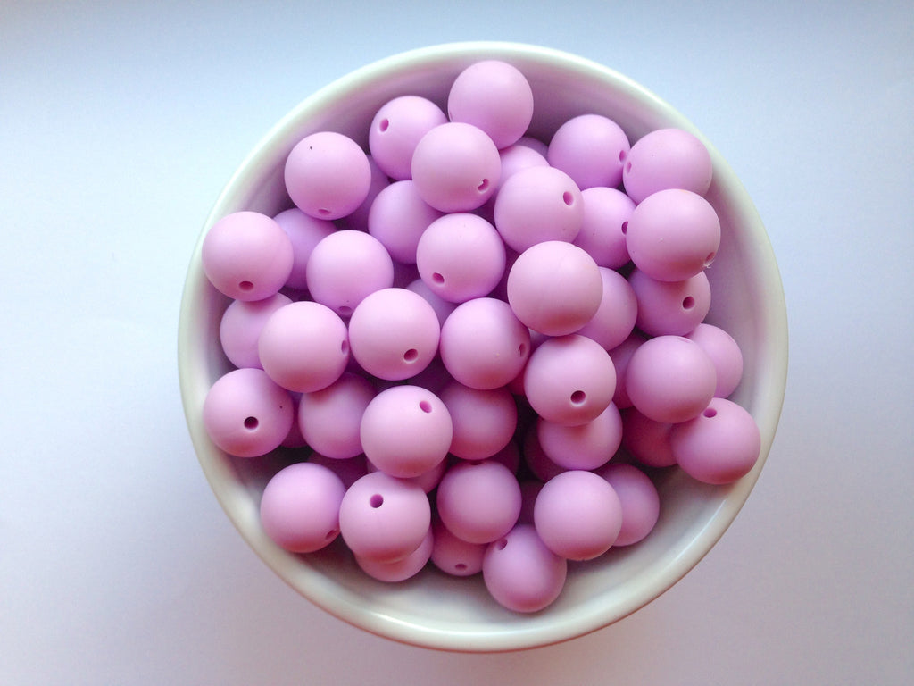 15mm Sweet Lilac Silicone Beads