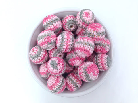 Multi-Colored Pink and Gray Crochet Wood Beads