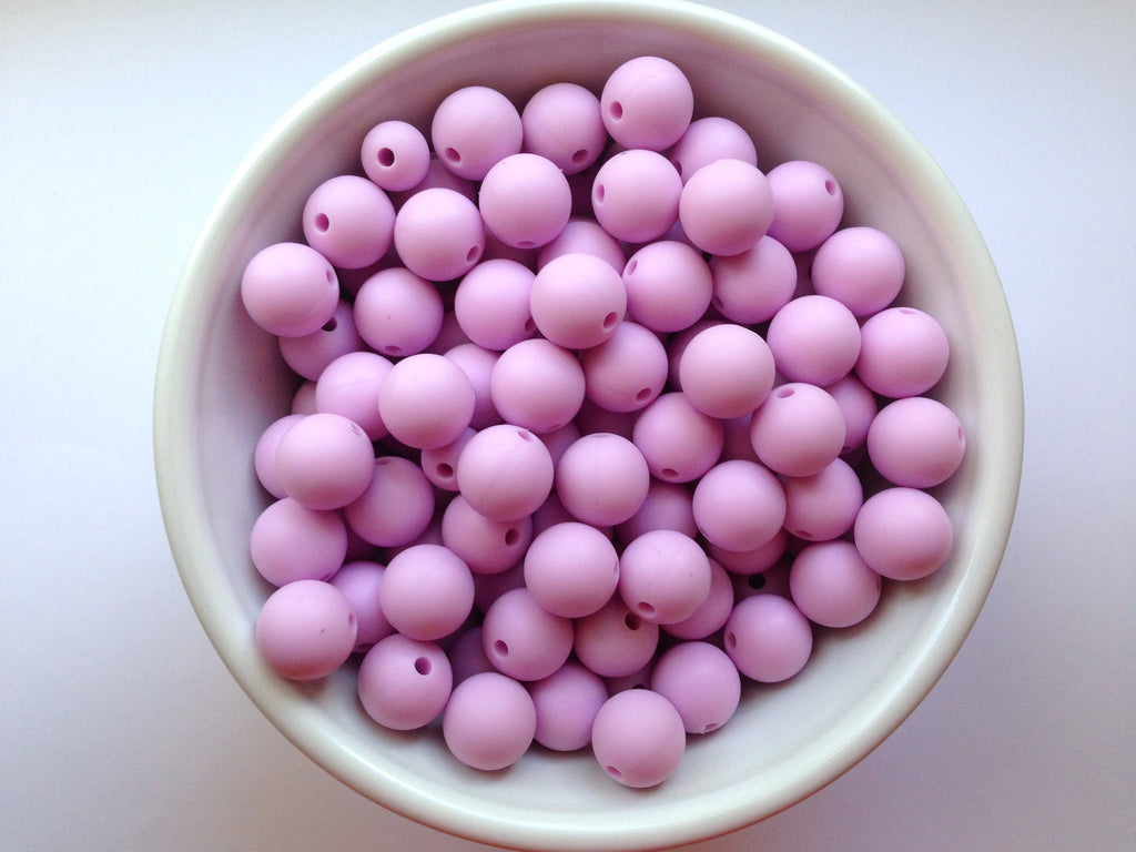 12mm Sweet Lilac Silicone Beads