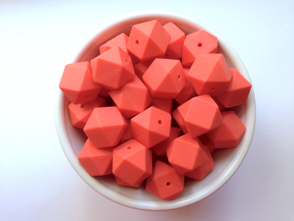 Coral Hexagon Silicone Beads