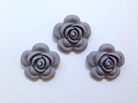 40mm Lavender Gray Silicone Flower Bead
