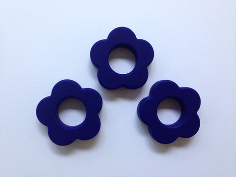 Navy Blue Silicone Flower Pendant