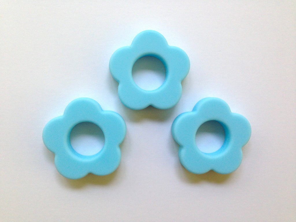Light Blue Silicone Flower Pendant