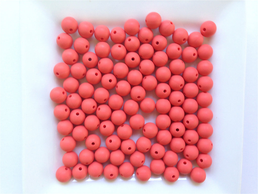 9mm Coral Silicone Beads