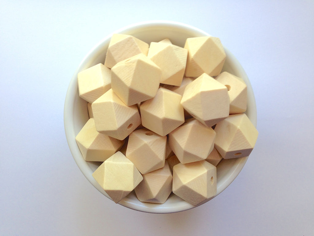 20mm Natural Wood Hexagon Teething Beads
