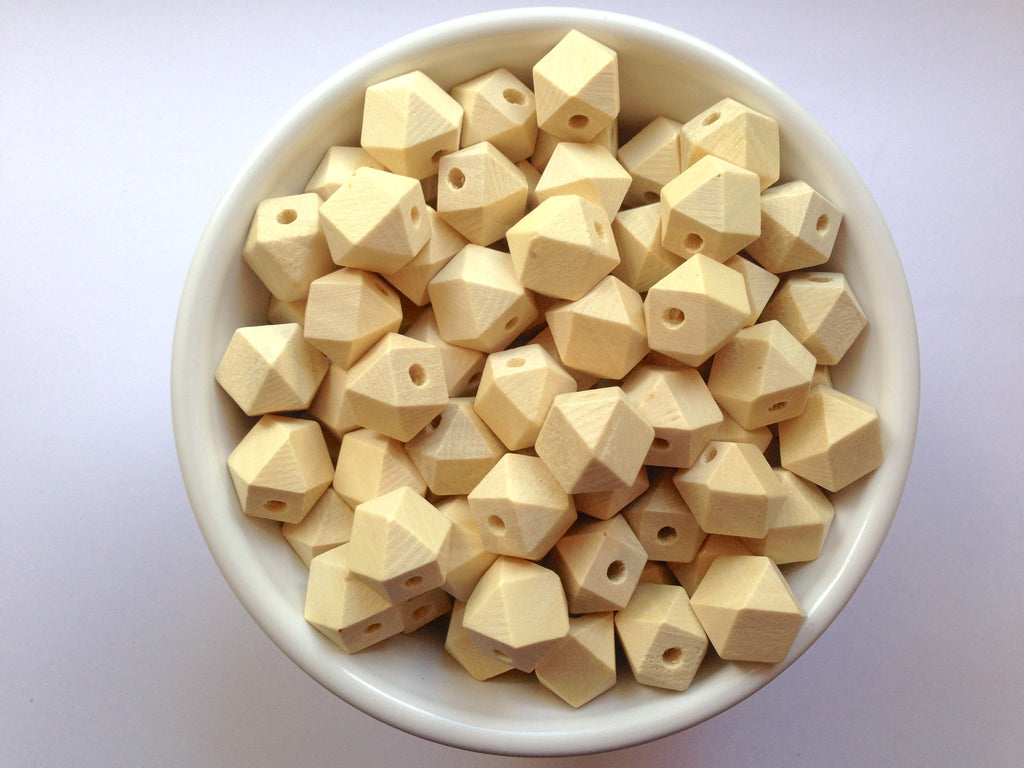 12mm Natural Wood Hexagon Teething Beads