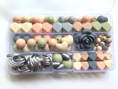 Beige, Peach, Oatmeal, Sage & Gray Silicone Deluxe Necklace Kit