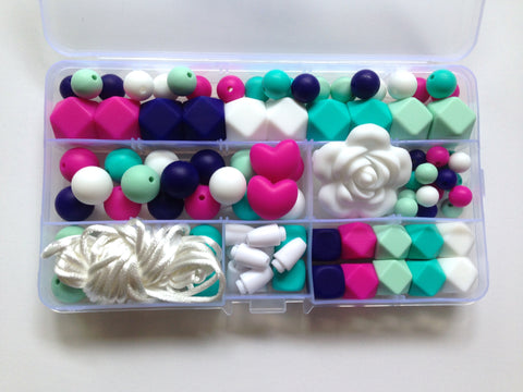 Hot Pink, Navy, White, Turquoise & Mint Silicone Deluxe Necklace Kit
