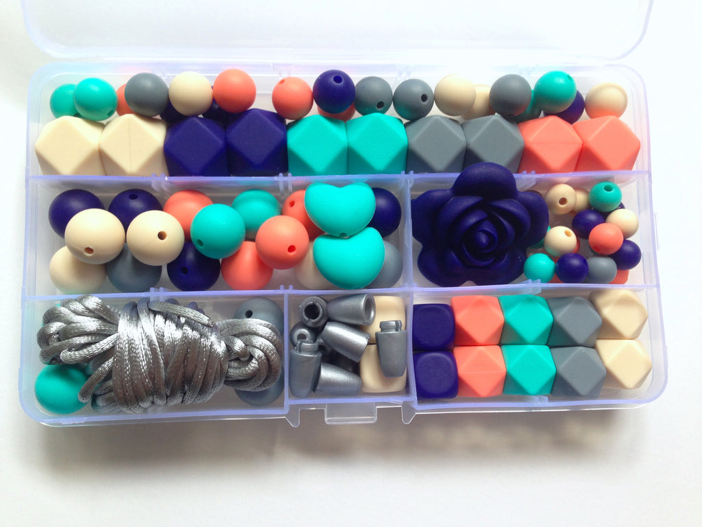 Beige, Navy, Turquoise, Salmon & Gray Deluxe Silicone Necklace Kit