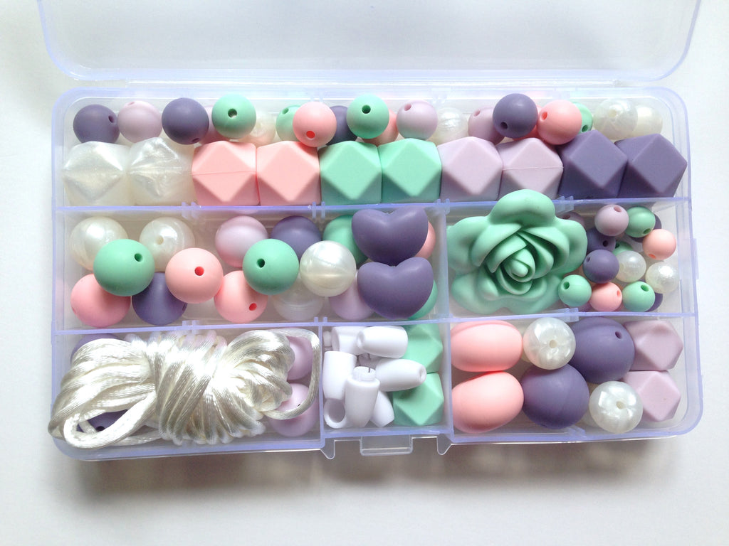 Shades of Purple, Mint, Pink & White Pearl Deluxe Silicone Necklace Kit