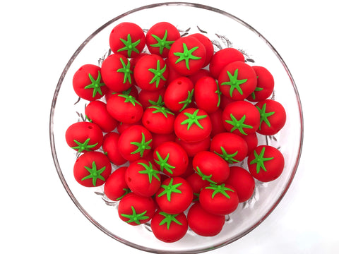 Red Tomato Silicone Beads