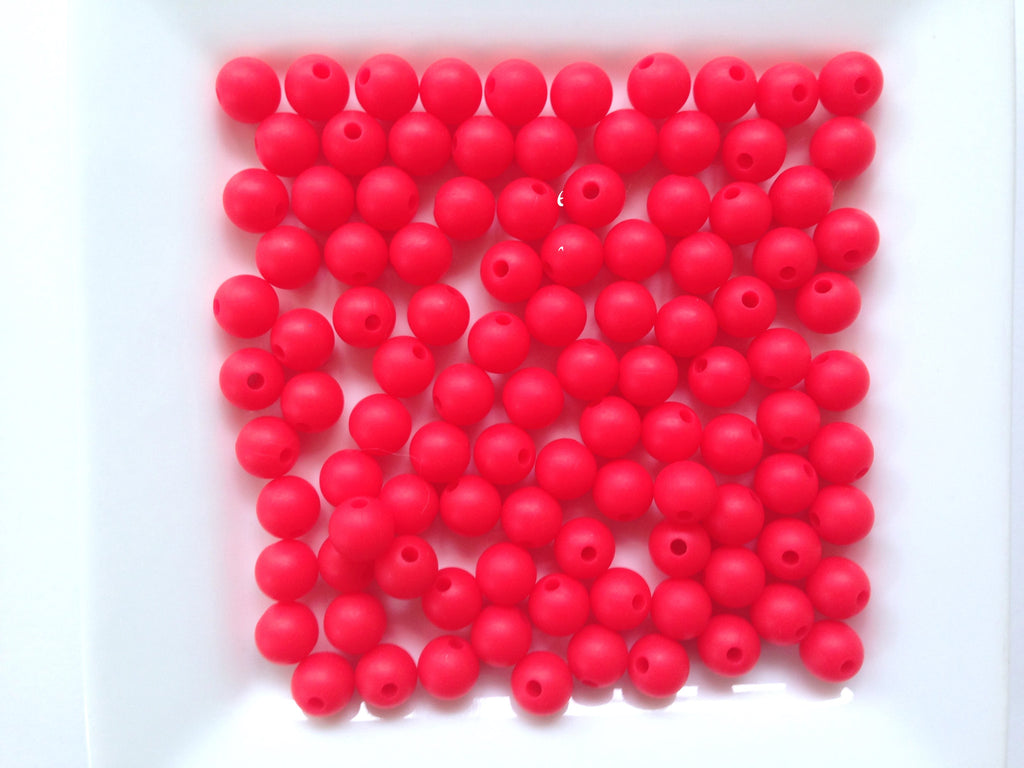 9mm Strawberry Red Silicone Teething Beads