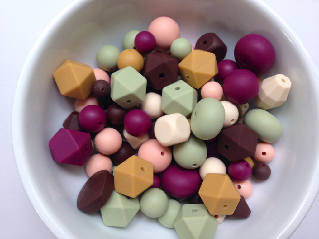 Wine, Beige, Sage, Mustard, Brown and Peach Silicone Bulk Bead Mix