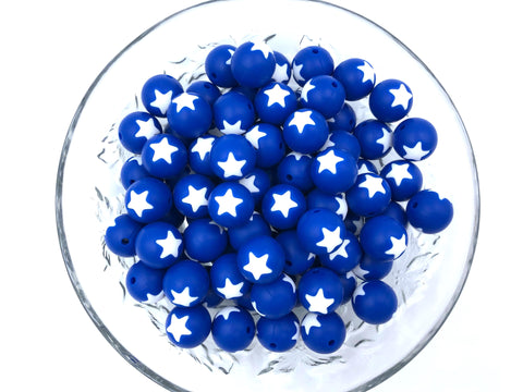 15mm Royal Blue and White Star Silicone Beads