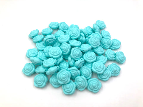 Aqua Mini Silicone Rose Flower Beads