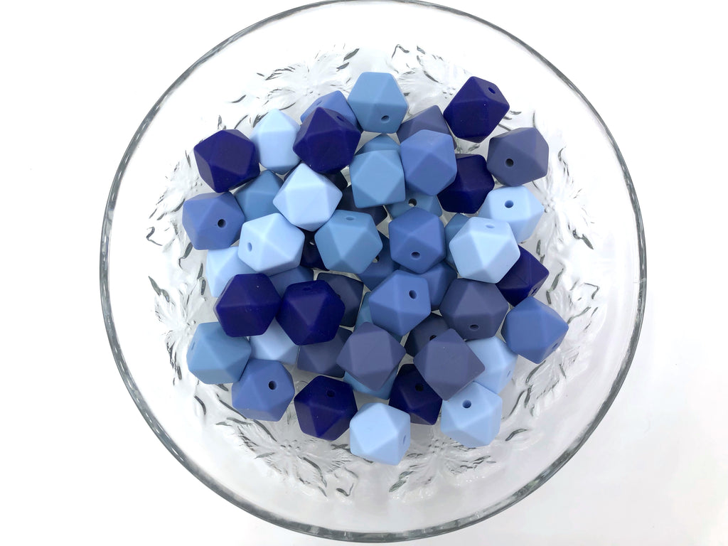 Shades of Blue Mix, 50 or 100 BULK Hexagon Silicone Beads