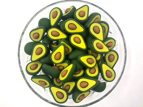 Avocado Shaped Silicone Beads
