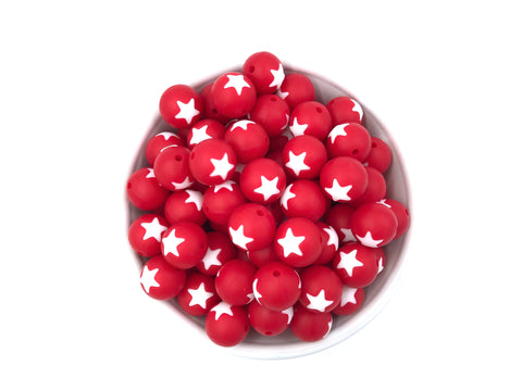 Limited Edition!   15mm Red and White Star Silicone Beads