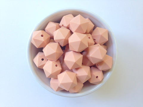 20mm Peach Sorbet ICOSAHEDRON Silicone Beads