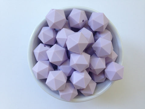 20mm Lavender Mist ICOSAHEDRON Silicone Beads