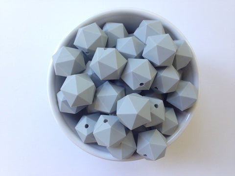 20mm Light Gray ICOSAHEDRON Silicone Beads