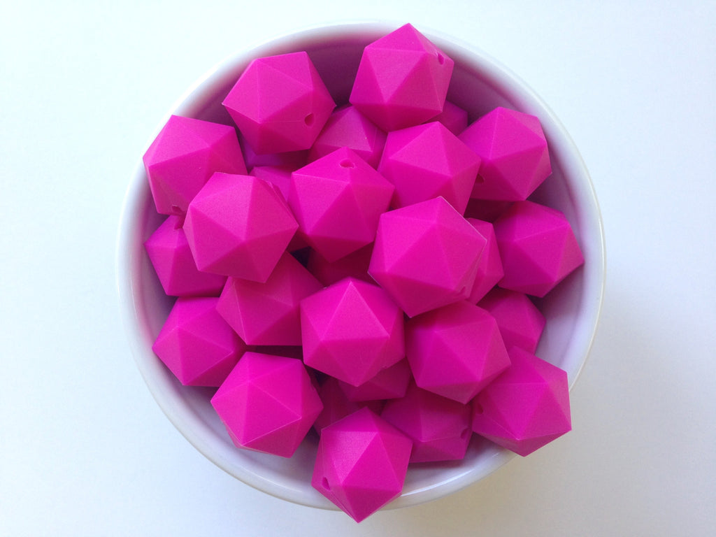 20mm Hot Pink ICOSAHEDRON Silicone Beads