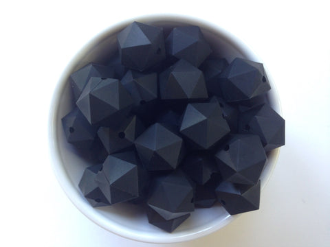 20mm Black ICOSAHEDRON Silicone Beads