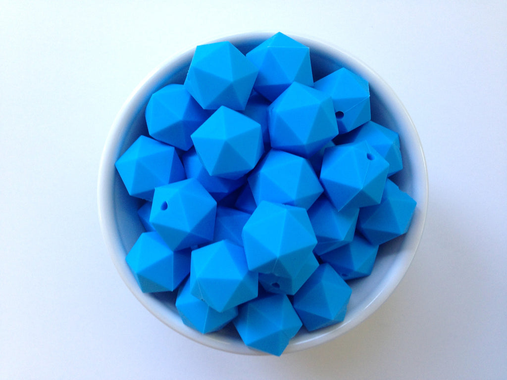 20mm Sky Blue ICOSAHEDRON Silicone Beads