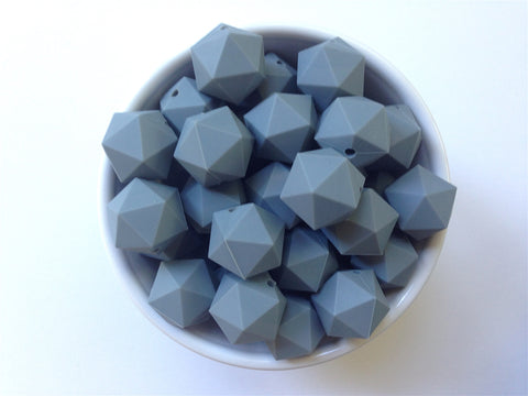 20mm Gray ICOSAHEDRON Silicone Beads