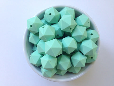 20mm Mint ICOSAHEDRON Silicone Beads