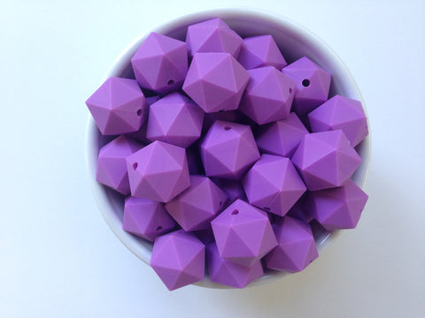20mm Lavender Purple ICOSAHEDRON Silicone Beads
