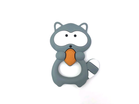 Gray Raccoon Silicone Teether