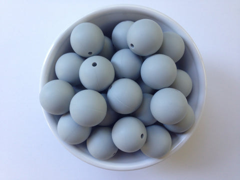22mm Light Gray Round Silicone Beads