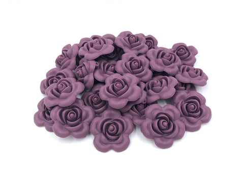40mm Light Plum Silicone Flower Bead
