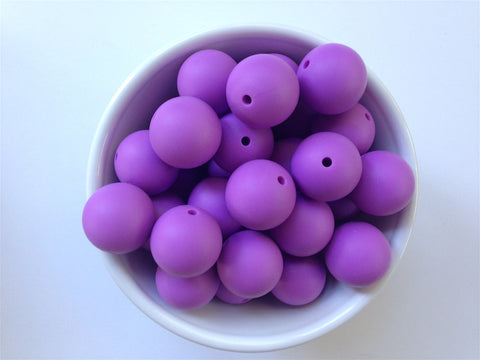22mm Lavender Purple Round Silicone Beads