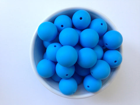22mm Sky Blue Round Silicone Beads