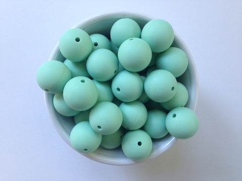 22mm Mint Round Silicone Beads