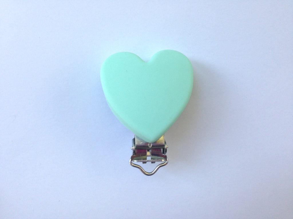 Mint Heart Silicone Pacifier Clip