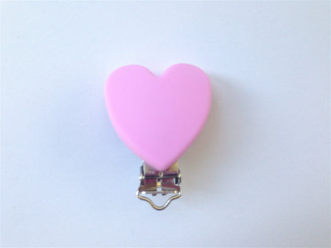 Light Pink Heart Silicone Pacifier Clip