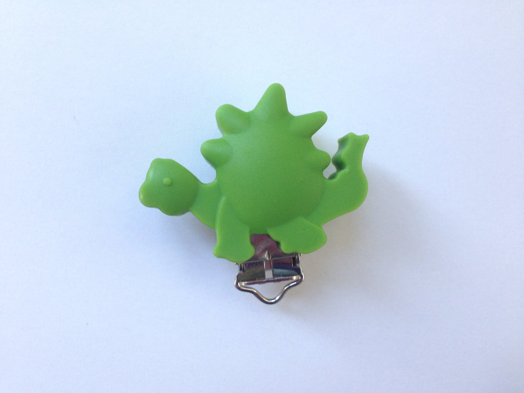 Olive Green Dinosaur Silicone Pacifier Clip