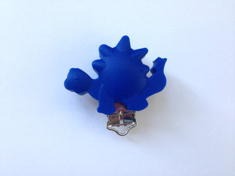 Royal Blue Dinosaur Silicone Pacifier Clip